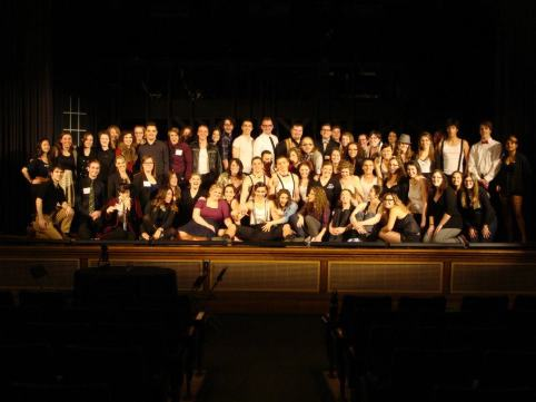 Emma with the cast of Cabaret (2013) from Curtain Call Productions.
