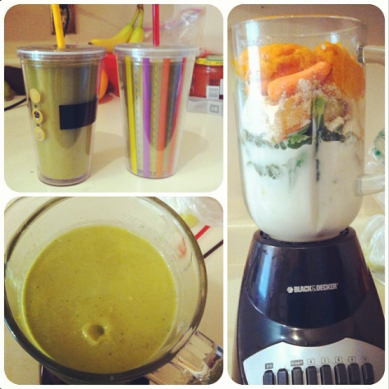An example of Sarah's recipe experimentation: Homemade Pumpkin Pie Green Smoothies: 🎃🍌 2 cups of pumpkin (canned or fresh), 2 cups of almond milk, 1 frozen banana, 1/2 avocado, 2 cups spinach, 2 celery stalks, 1/2 cup carrots, 1 tsp cinnamon, 1 scoop vanilla whey protein (optional), 1 tbsp flax (optional), 1 tbsp hemp hearts (optional)